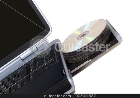 Laptop with overloaded DVD Drive. Isolated on white stock photo, Laptop with overloaded DVD Drive. Isolated on white by Sergii Sukhorukov