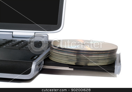 Laptop with overloaded DVD Drive. Isolated on white background stock photo, Laptop with overloaded DVD Drive. Isolated on white background by Sergii Sukhorukov