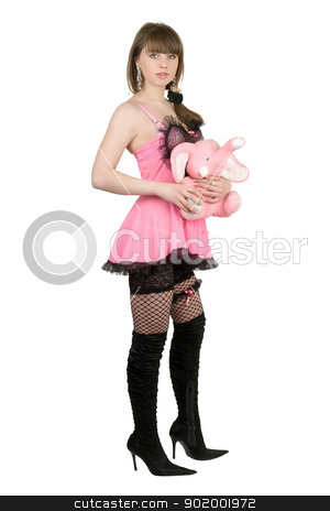 Pretty girl in a pink dress with the elephant calf stock photo, Pretty girl in a pink dress with the elephant calf by Sergii Sukhorukov