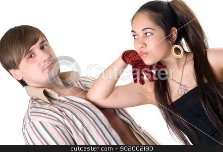 Portrait of the young man and woman. Isolated stock photo, Portrait of the young man and woman. Isolated by Sergii Sukhorukov