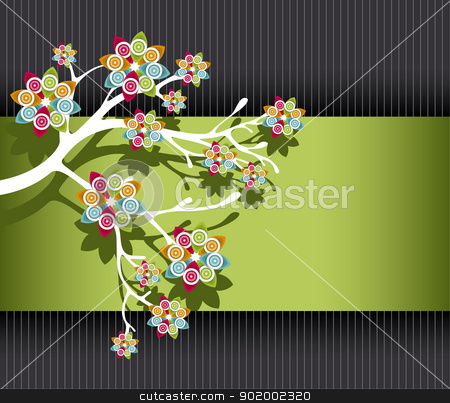 Stylized Tree with Colorful Blossoms stock vector clipart, Stylized Tree with Colorful Blossoms on Green and Black Striped Background Vector Illustration eps8 by 99idesign
