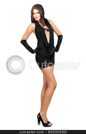 Sexy smiling woman in black dress stock photo, Sexy smiling woman in black dress. Isolated by Sergii Sukhorukov