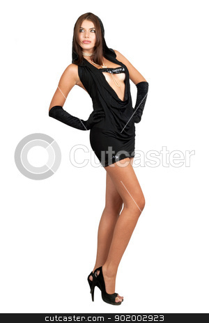 Seductive young woman in black dress stock photo, Seductive young woman in black dress. Isolated by Sergii Sukhorukov