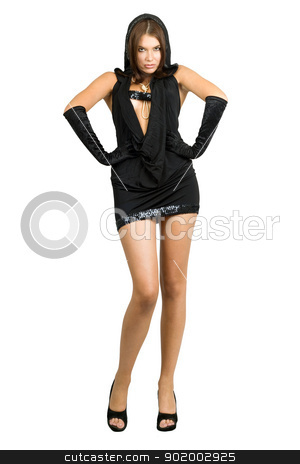 Haughty sexy woman in black dress stock photo, Haughty sexy woman in black dress. Isolated by Sergii Sukhorukov