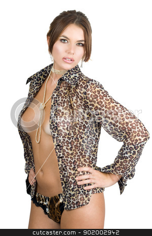 Portrait of the seductive young woman stock photo, Portrait of the seductive young woman in leopard shirt. Isolated by Sergii Sukhorukov