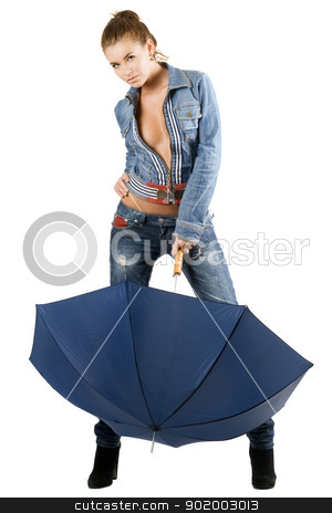 Young woman in a blue denim suit stock photo, Young woman in a blue denim suit with umbrella. Isolated by Sergii Sukhorukov