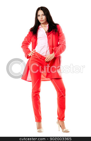 Beautiful young brunette in red suit stock photo, Beautiful young brunette in red suit. Isolated by Sergii Sukhorukov