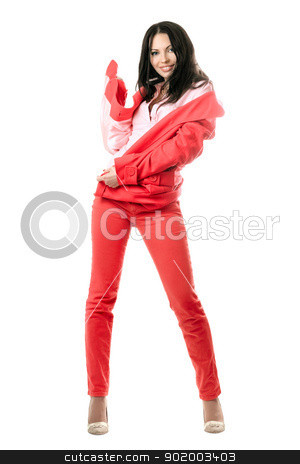 Cheerful young brunette in red suit. Isolated stock photo, Cheerful young brunette in red suit. Isolated on white by Sergii Sukhorukov