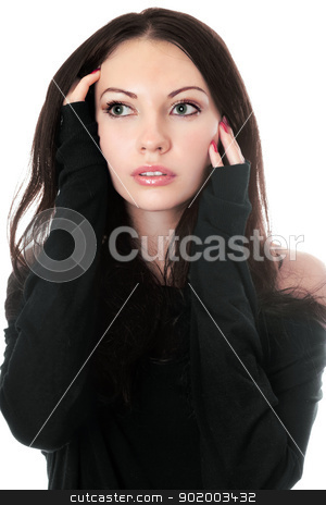 Young woman in black. stock photo, Close-up of young woman in black. Isolated on white by Sergii Sukhorukov