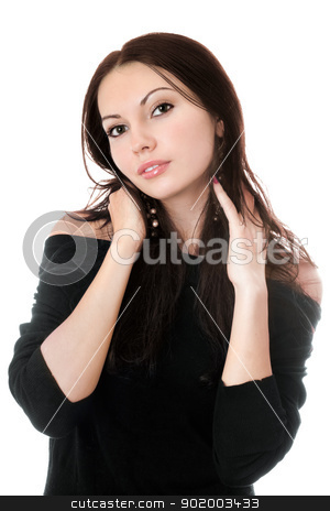 Sexy brunette in black stock photo, Portrait of young sexy brunette in black. Isolated on white by Sergii Sukhorukov