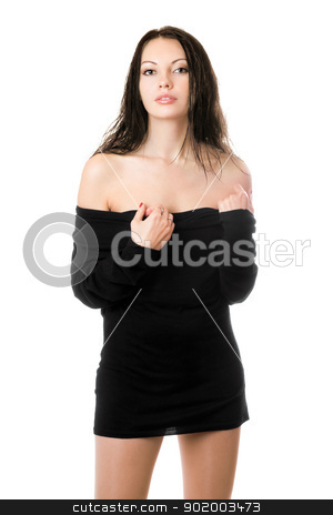 Sexy brunette in black dress stock photo, Young sexy brunette posing in black dress. Isolated on white by Sergii Sukhorukov