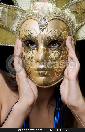 Portrait of girl in a Venetian mask stock photo, Portrait of girl in a Venetian mask. Isolated by Sergii Sukhorukov