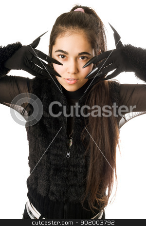 Portrait of pretty young woman in gloves stock photo, Portrait of pretty young woman in gloves with claws by Sergii Sukhorukov