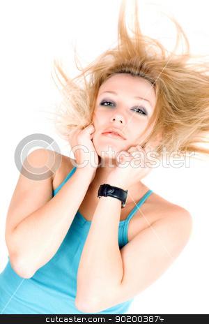 Portrait of pretty young blond girl stock photo, Portrait of pretty young blond girl lying on a white by Sergii Sukhorukov