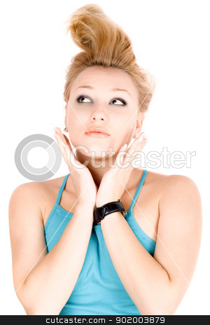 Portrait of pretty blond girl stock photo, Portrait of pretty blond girl lying on a white by Sergii Sukhorukov