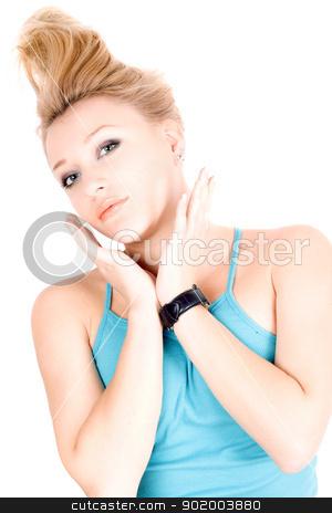 Portrait of beautiful blond girl stock photo, Portrait of beautiful blond girl lying on a white by Sergii Sukhorukov