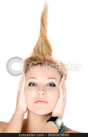 Closeup portrait of blond girl stock photo, Closeup portrait of blond girl lying on a white by Sergii Sukhorukov