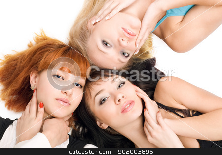 Three young pretty women stock photo, Portrait of three young pretty women on white background by Sergii Sukhorukov