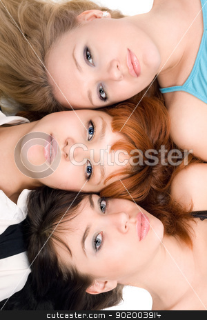 Three thoughtful women stock photo, Portrait of three thoughtful women lying on white background by Sergii Sukhorukov