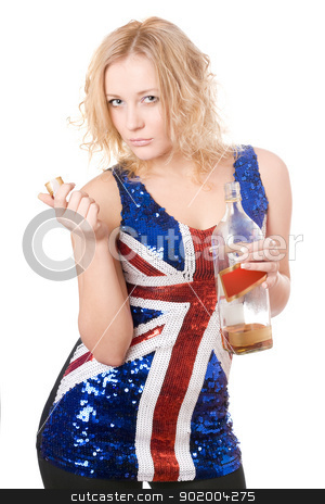 young blonde with a bottle stock photo, Cute young blonde with a bottle of whisky. Isolated on white by Sergii Sukhorukov