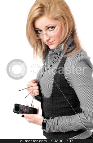 Portrait of young blonde with smartphone stock photo, Portrait of young blonde with smartphone. Isolated by Sergii Sukhorukov