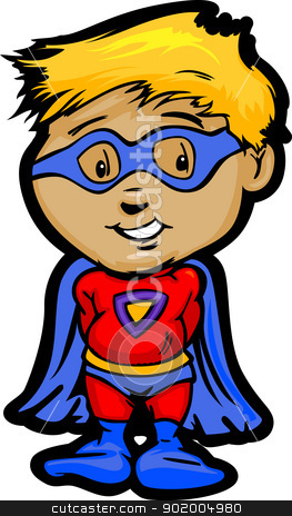 Cute Boy In Super Hero Outfit Cartoon Vector Illustration stock vector clipart, Cartoon Vector Image of a Happy Super Hero Boy With Cape and Mask  by chromaco