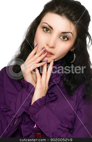 Portrait of perfect young woman stock photo, Portrait of perfect young woman in a purple jacket by Sergii Sukhorukov