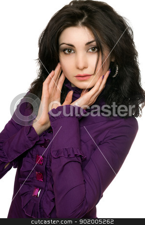 Portrait of pretty young woman in a purple jacket stock photo, Portrait of pretty young woman in a purple jacket. Isolated by Sergii Sukhorukov