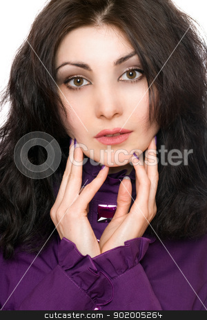 Portrait of lovely young woman in a purple jacket stock photo, Portrait of lovely young woman in a purple jacket. Isolated by Sergii Sukhorukov