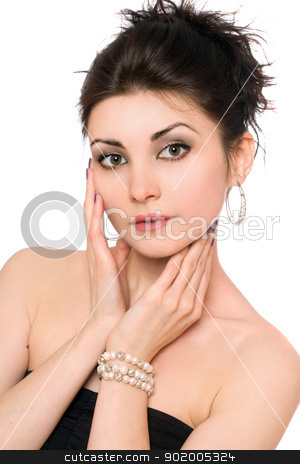 Closeup portrait of attractive brunette. Isolated stock photo, Closeup portrait of attractive brunette. Isolated on white by Sergii Sukhorukov