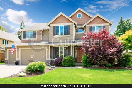 American beige luxury large house front exterior. stock photo, American beige luxury large house front exterior with landscape. by iriana88w