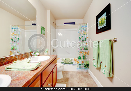 Kids Bathroom with frogs. stock photo, Kids Bathroom with frogs decor. by iriana88w