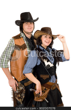 young cowboy and cowgirl. Isolated stock photo, Portrait of a young cowboy and cowgirl. Isolated by Sergii Sukhorukov