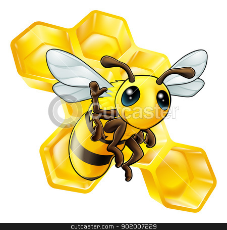 Bee and honeycomb stock vector clipart, A cute cartoon waving bee with some honeycomb in the background by Christos Georghiou