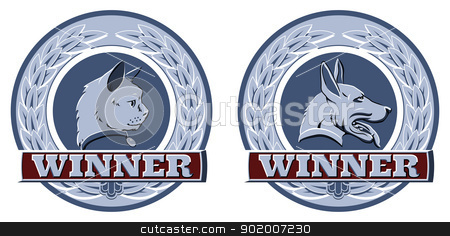 Cat and dog pet awards stock vector clipart, Illustration of cat and dog winners badges or shields in blue and red by Christos Georghiou