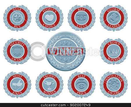 Winners award badges stock vector clipart, A set of blue and red winners award badges or medallions like those awarded in test or reviews or for product descriptions by Christos Georghiou
