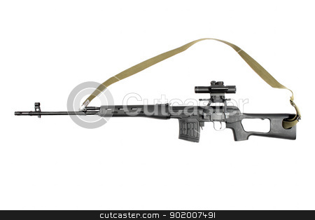 Sniper rifle SVD stock photo, Sniper rifle SVD. Isolated on white background by Sergii Sukhorukov