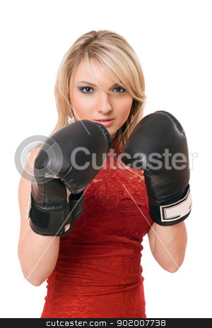Blond young girl in  boxing gloves stock photo, Pretty young blond girl in  boxing gloves by Sergii Sukhorukov