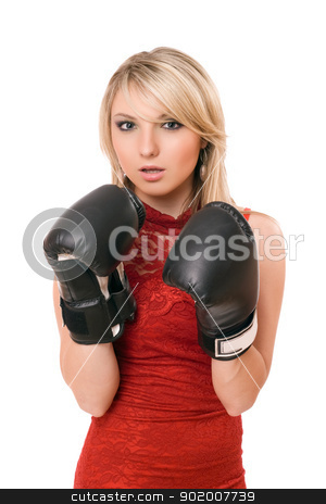 Beautiful young blonde in boxing gloves stock photo, Beautiful young blond woman in boxing gloves by Sergii Sukhorukov