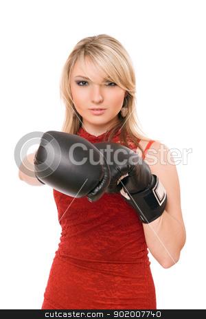 Beautiful blond lady in boxing gloves stock photo, Beautiful blond young lady in boxing gloves by Sergii Sukhorukov