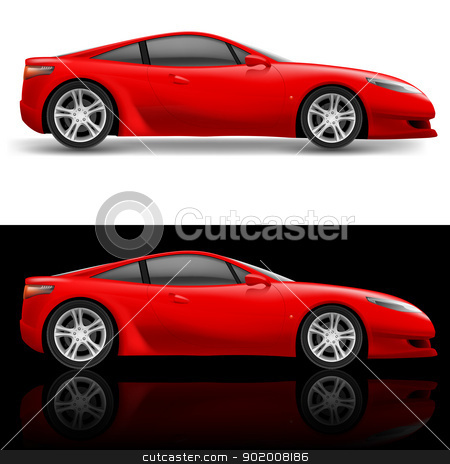 Red Sport Car stock photo, Red Sport Car Icon. Illustration on white and black background by dvarg