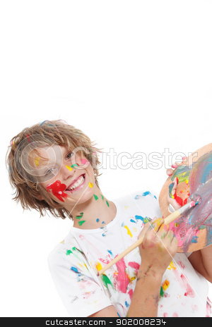 child painting stock photo, happy child or kid painting with paint and brush by mandygodbehear