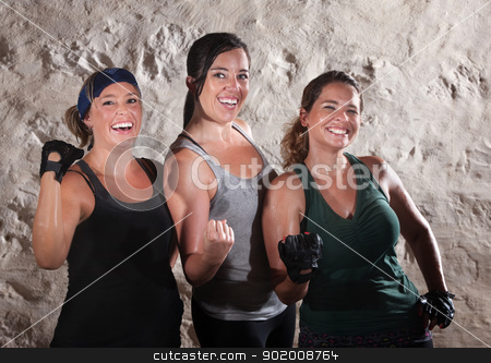 Three Boot Camp Style Workout Ladies Flex Their Biceps stock photo, Three friends flexing their muscles in boot camp style workout by Scott Griessel