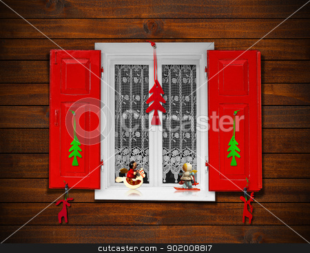 Christmas Window stock photo, Window with red shutters and Christmas decorations on wooden wall  by catalby
