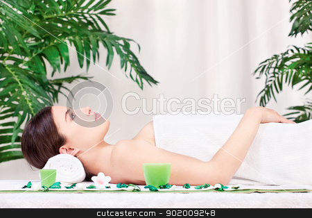 woman waiting for massage in salon stock photo, Beautiful woman waiting for massage in salon by iMarin