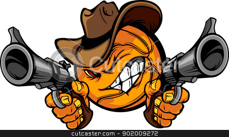 Cowboy Basketball Cartoon Shootout stock vector clipart, Basketball Ball Cartoon Face with Cowboy Hat Holding and Aiming Guns   by chromaco
