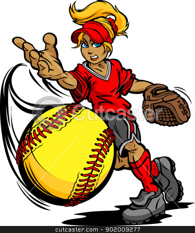 Fastpitch Softball Player Pitching Fast pitch Softball  Vector I stock vector clipart, Softball Tournament Art of a Fastpitch Ball Thrown by Fast Pitch Softball Pitcher Cartoon Vector Illustration  by chromaco