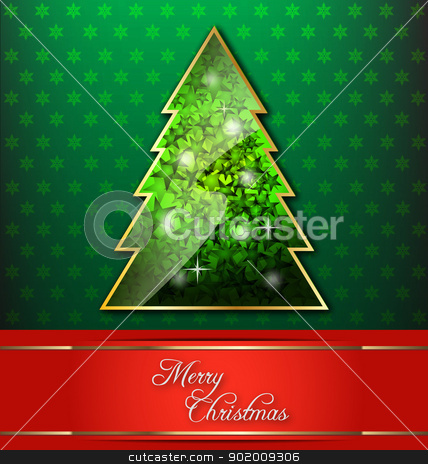 Christmas-themed decorative wallpaper stock vector clipart, Christmas-themed decorative wallpaper with Christmas tree and red banner by Vladimir Repka