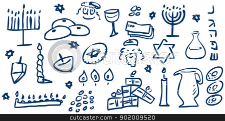 Hanukkah Symbols Doodles stock vector clipart, A pack of vector illustrations of Hanukkah related doodles for the Jewish holiday. by Liron Peer
