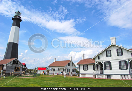 Tybee Island Lighthouse stock photo, Lighthouse and keeper's cottage on Tybee Island, Georgia, near Savannah by Daniel Lee